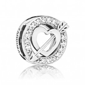 Pandora Reflexions 797793CZ Bedel/Clip Asymmetric Heart and Arrow zilver