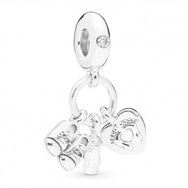 Pandora 798106CZ Hangbedel zilver Shoes, Babybottle and Heart