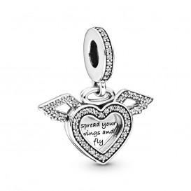 Pandora 798485C01 Hangbedel zilver Heart en Angel Wings