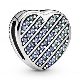 Pandora Reflexions 799346C01 Bedel/Clip Blue Pave Heart zilver