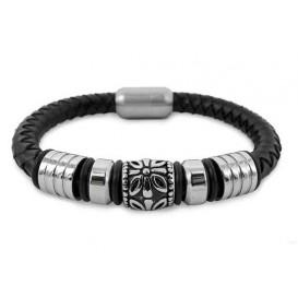 Frank 1967 Armband Leder met stalen beads zwart 21 cm 7FB-0017