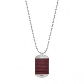 Fossil JF03107040 Ketting staal/leder Vintage Casual