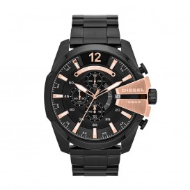 Diesel Horloge Chrono Master Chief staal zwart-rosekleurig 52 mm DZ4309