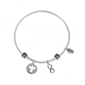 CO88 Collection 8CB-25002 - Stalen bangle met bedels - open engel en infinity symbool - one-size - zilverkleurig