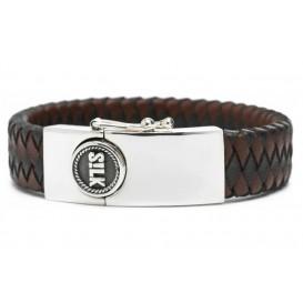 SILK Jewellery 811BBR.21 Armband zilver-leder zwart/bruin 21 cm