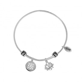 CO88 Collection 8CB-25003 - Stalen bangle met bedels - fantasie bedel en lotus bloem - one-size - zilverkleurig