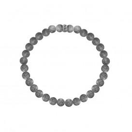 Kaliber 7KB-0061M - Heren armband met stalen element - Jaspis natuursteen 6 mm - maat M (18 cm) - grijs / zilverkleurig