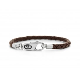 Silk Jewellery 830BRN-18 Armband zilver en leer lengte 18 cm