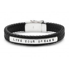 SILK Jewellery Armband leder/zilver 'Live your dreams' 21 cm 851BLK