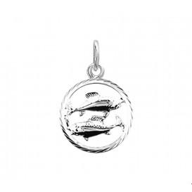 Bedel Sterrenbeeld Vissen Gediamanteerd Zilver