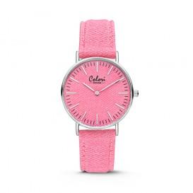 Colori - Denim - 5-COL420 - Horloge - denim band - roze - 36 mm