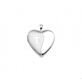 Medaillon Hart En Kruis Gravure Zilver Gerhodineerd  21,0 mm x 19,5 mm