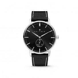 Kaliber 7KW-00002 - Stalen Horloge met Leren Band - Zwart en Zilverkleurig - 40 mm