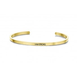 Key Moments 8KM-B00038 Stalen open bangle met tekst i am strong zirkonia one-size goudkleurig
