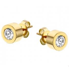 TFT Oorknoppen Strass 7 mm staal goudkleurig glanzend