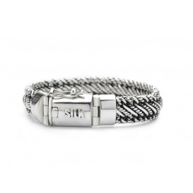 Silk Jewellery Armband zilver-leder 'Madonna' 19 cm 734-19