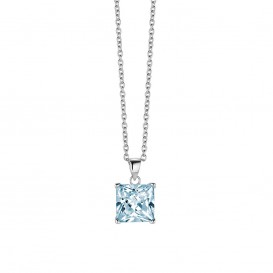 New Bling 9NB-0030 - Zilveren collier met hanger - zirkonia vierkant 10 mm - lengte 40 + 5 cm - zilverkleurig / blauw
