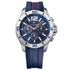 Tommy Hilfiger Horloge Nolan 48 mm zilverkleurig-blauw 1791142