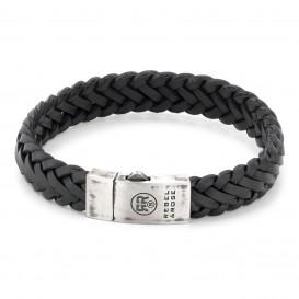 Rebel and Rose RR-L0076-S Armband Braided Raw Mat Black 21 cm