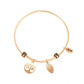CO88 Collection 8CB-25008 - Stalen bangle met bedels - levensboom en blaajde - one-size - goudkleurig