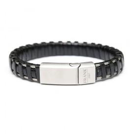 Frank 1967 Armband Leder/Staal zwart-zilverkleurig 22 cm 7FB-0162