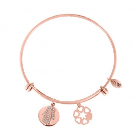 CO88 8CB-10010 Stalen bangle, Zirkonia Fatima's hand en Harten. Variable lengte