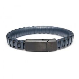 Frank 1967 Armband Leder/Staal blauw-zwart 22 cm 7FB-0166