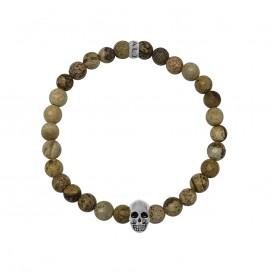 Kaliber 7KB-0065M - Heren armband met beads - schedel - Jaspis natuursteen 6 mm - maat M (18 cm) - bruin / zilverkleurig