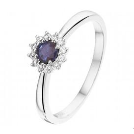 TFT Ring Saffier En Diamant 0.09ct H P1 Witgoud