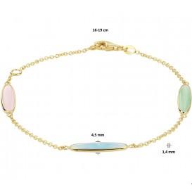Armband 4020741 Geelgoud met edelstenen 1,4 mm 16 - 19 cm