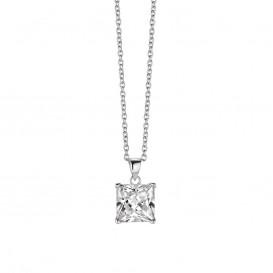 New Bling 9NB-0006 - Zilveren collier met hanger - zirkonia vierkant 10 mm - lengte 40 + 5 cm - zilverkleurig