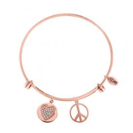 CO88 8CB-10007 Stalen bangle, Zirkonia hart en Peace symbool. Instelbare lengte, rosékleurig