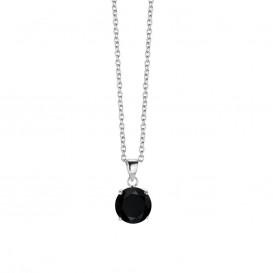 New Bling 9NB-0027 - Zilveren collier met hanger - zirkonia rond 10 mm - lengte 40 + 5 cm - zilverkleurig / zwart