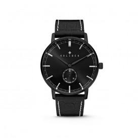 Kaliber 7KW-00006 - Stalen Horloge met Leren Band - Zwart - 40 mm