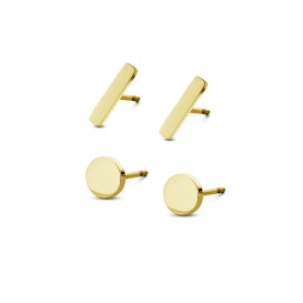 CO88 Collection Sense 8CE 70016 Stalen Oorknoppen - Set van 2 Paar - Staafjes 10x2 mm en Rondjes 6 mm - Goudkleurig
