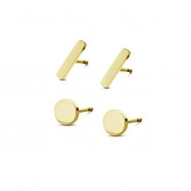 CO88 Collection Sense 8CE 70016 Stalen Oorknoppen - Set van 2 Paar - Staafjes 10x2 mm en Rondjes 6 mm - Goudkleurig