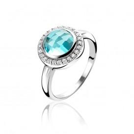 Zinzi ZIR1085 Ring zilver met zirconia turquoise