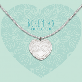 Heart To Get BO287SSH17S Necklace Beads, Heart With Stipped And Striped Hearts  Silver
