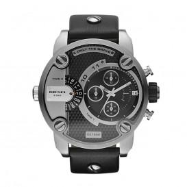 Diesel Horloge Chrono Little Daddy staal/leder grijs-zwart DZ7256