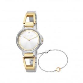 Esprit ES1L146M0025 Brace horloge Staal Goud- en Zilverkleur Dames