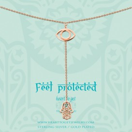 Heart To Get N242EYH15R Necklace Eye And Hamsa Feel Protected 45 Cm + 10 Cm Chain With Hamsa Charm Feel Protected Rose