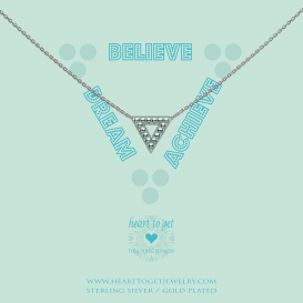 Heart To Get N373TRI17S Necklace Geomatric Triangle Dream, Believe, Achieve Silver