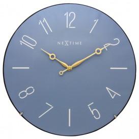 Wandklok NeXtime dia. 35 cm, bol glas, blauw, 'Trendy Dome'