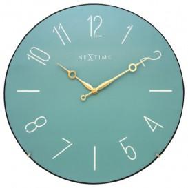 Wandklok NeXtime dia. 35 cm, bol glas, Turquoise, 'Trendy   Dome'
