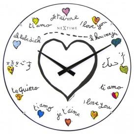 Wandklok NeXtime dia. 35 cm, bol glas, wit, 'Loving you     Dome'