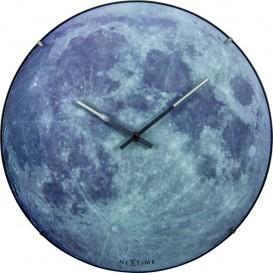 Wandklok NeXtime dia. 35 cm, bol glas, 'blauw Moon dome'