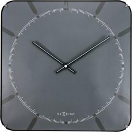 Wandklok NeXtime 35 x 35 cm, bol glas, grijs, 'Michael      square dome'