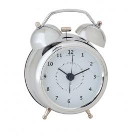 wekker NeXtime dia. 9 cm, metaal, zilver, 'Wake Up'