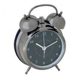 wekker NeXtime dia. 9 cm, metaal, zwart, 'Wake Up'