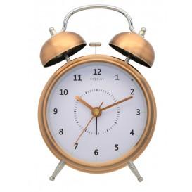 wekker NeXtime dia. 15 cm, metaal, koper, 'Wake Up'